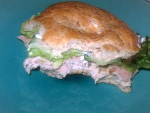 The next day with thinly sliced granny smith apple and lettuce on ciabatta